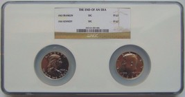1963 Franklin 1964 Kennedy NGC The End of an Era Proof Graded PF 67 Coin... - $114.39