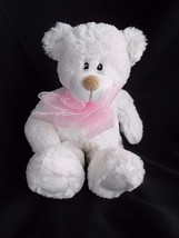 "First & Main Teddy bear white 11"" Plush Stuffed Animal Pink Bow - $9.75"
