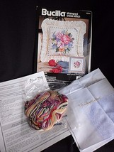 Bucilla Stamped Cross Stitch Kit Bouquet On Lace Pillow 40674 14 x 14 1992 Craft - $19.55