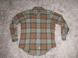 Ralph Lauren Men's Plaid Shirt, Large, Long Sleeve, Brown & Gray - $13.99