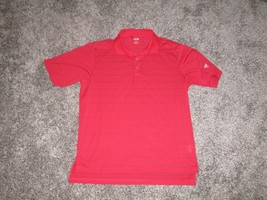 Adidas Golf Short Sleeve Polo, Men's Large, Red w/ Stripes - $9.10
