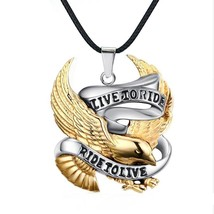 Biker Necklace Pendant Live To Ride 18K Gold Plated Eagle Brotherhood Mo... - $10.51