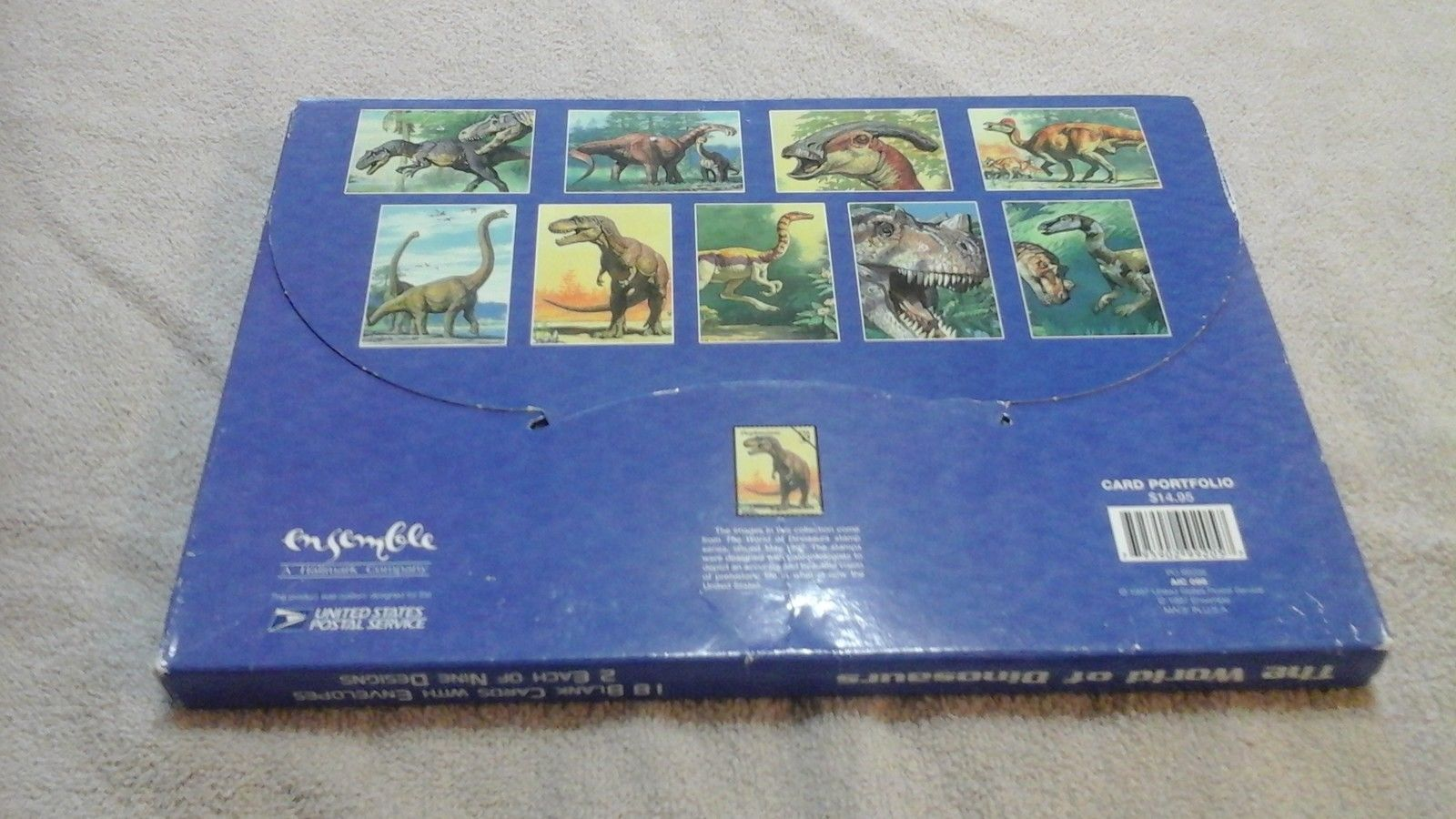 1 - U.S. POSTAL SERVICE 18 CARDS+ENVELOPES WORLD OF DINOSAURS 2 ea.HAR 9 DESIGNS