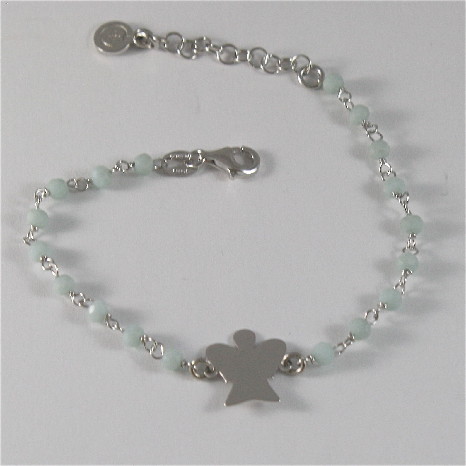925 RHODIUM SILVER BRACELET WITH ANGEL AND GREY CRYSTALS  MADE IN ITALY 7.09 IN