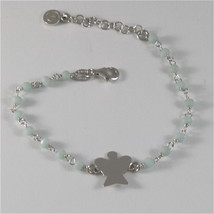 925 RHODIUM SILVER BRACELET WITH ANGEL AND GREY CRYSTALS 7.09 IN image 1