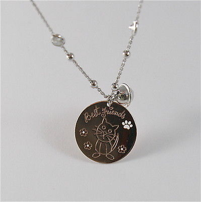 925 RHODIUM SILVER NECKLACE WITH CAT KITTEN PUPPY AND BELL PENDANT