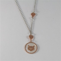 925 Rhodium Silver Necklace With Cat Kitten Mother Of Pearl Medal Made In Italy - $56.05