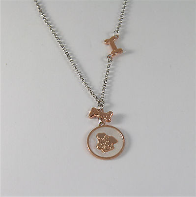 925 RHODIUM SILVER NECKLACE WITH DOG PUPPY & MOTHER OF PEARL MEDAL MADE IN ITALY
