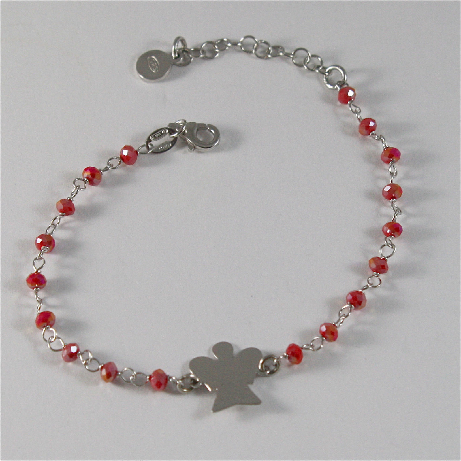 925 RHODIUM SILVER BRACELET WITH ANGEL AND RED CRYSTALS 7.09 IN
