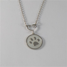 925 RHODIUM SILVER NECKLACE FOOTPRINT OF A PAW AND MOTHER OF PEARL MADE ... - $51.30