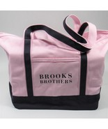 Brooks Brothers Canvas Tote Bag Shopping Bag Pastel Pink/Navy Blue One S... - $22.44
