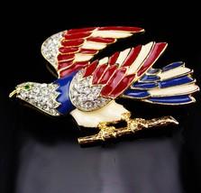 "Vintage Eagle Brooch / Rhinestone Eagle / Patriotic jewelry / 2 3/4"" pin... - $95.00"