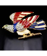 Large Vintage Eagle Brooch / Rhinestone bird / Patriotic jewelry / 2 3/4... - $95.00