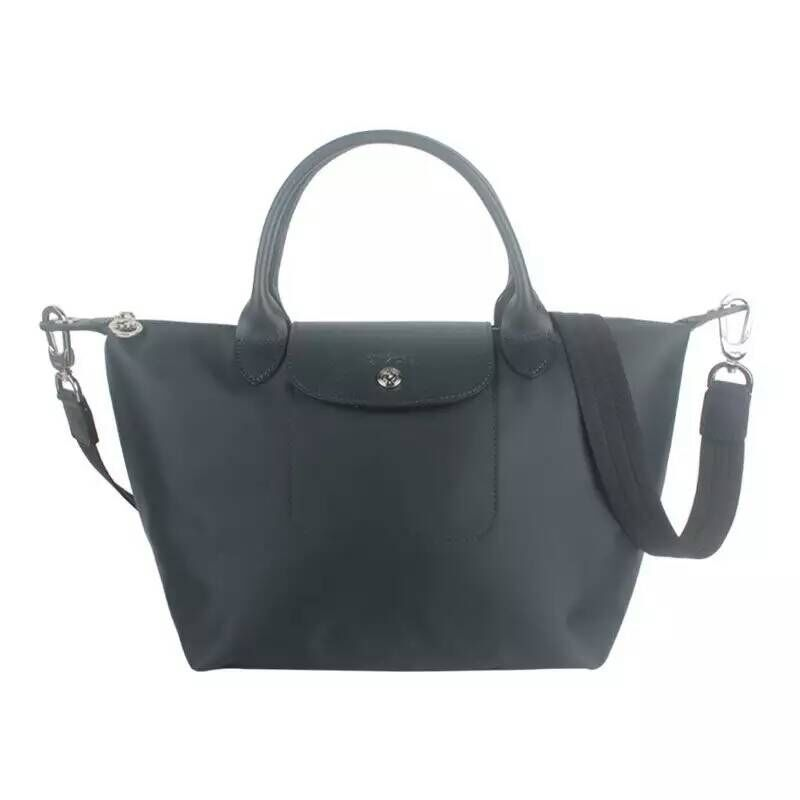 7868f3d93d0d Longchamp Le Pliage Neo Nylon Graphite Handbag with Shoulder Strap Size  Medium