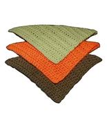 Dishcloths, Set of 3, Olive Green-Orange-Brown ... - $7.50