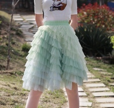 Mint Short Tiered Tulle Skirt Plus Size Knee Length Tulle Skirt Holiday Outfit image 1