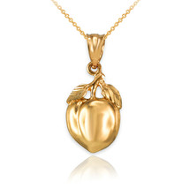 Gold Georgia Peach Fruit Charm Necklace (Yellow, White, Rose Gold, 10K a... - $59.99+