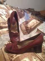 NINE WEST HARLIN WOMEN'S BROWN LEATHER CAREER PUMPS SIZE 7.5M CHUNKY HEELS - $24.74