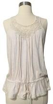 EXPRESS Racerback Lace Tank Top S Blouson Peasant Drawstring Cream Shirt... - $14.99