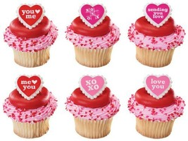 12 Love Letters Heart Rings Cupcake Cake Decorating Toppers (17715) - $2.99