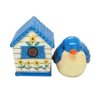 Hand Painted Ceramic Magnetic Salt and Pepper Shaker Set- Bird and Birdh... - $12.86