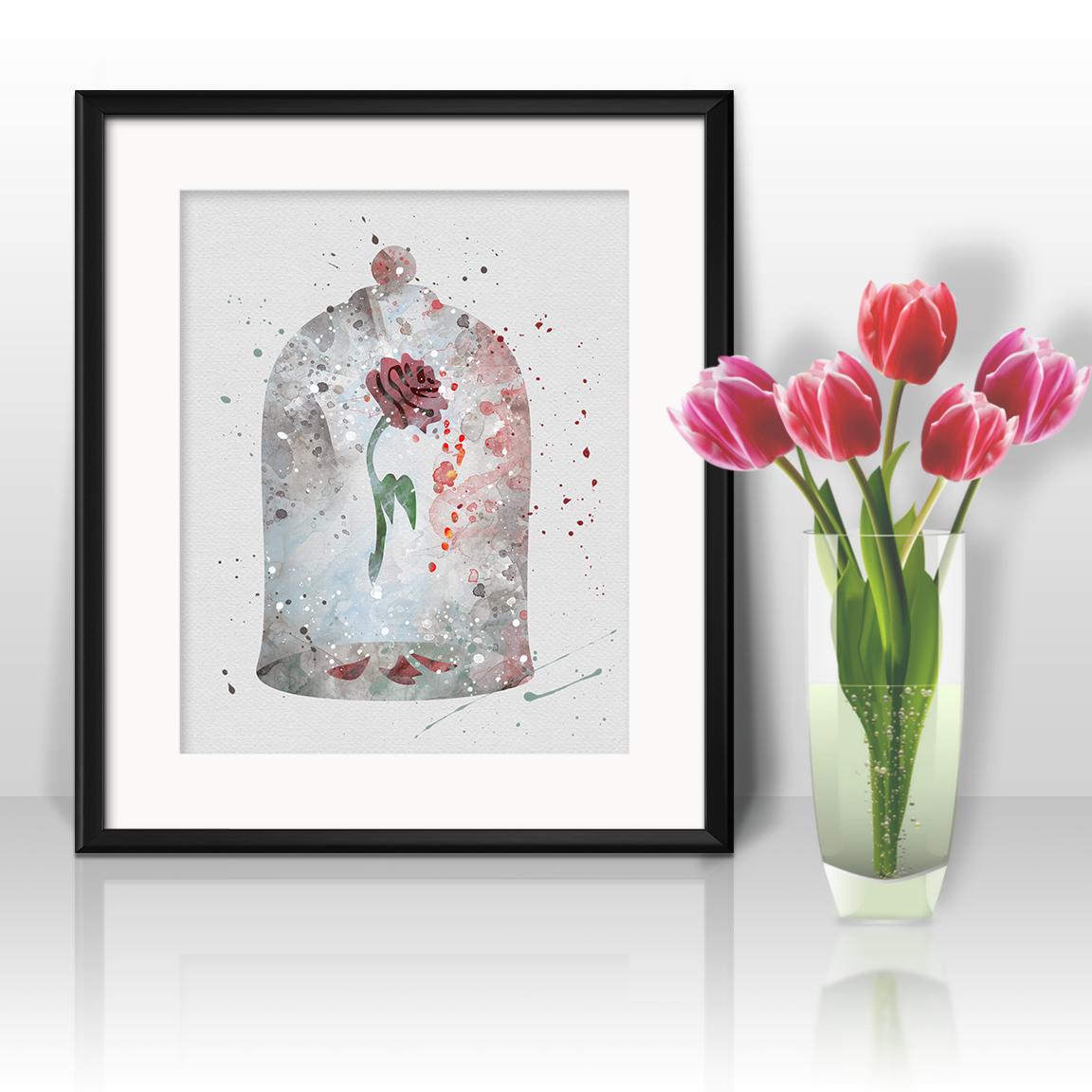 Beauty and the Beast rose Disney Print Printable Watercolor Art poster Home art