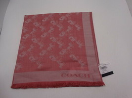 Coach F26587 100% Wool Bicolor Horse And Carriage Oblong Scarf Dusty Ros... - $2.829,37 MXN