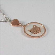 925 RHODIUM SILVER NECKLACE WITH CAT KITTEN MOTHER OF PEARL MEDAL image 2