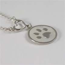 925 RHODIUM SILVER NECKLACE FOOTPRINT OF A PAW AND MOTHER OF PEARL image 2