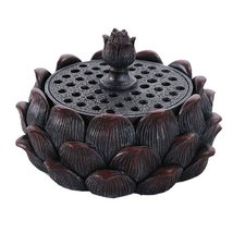 Auspicious Lotus Shape Buddha Meditation Incense Burner Holder Infuser - $19.79