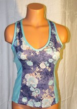 Lejay Women's Sports Athletic Racerback Shirt Top Floral Teal Blue Size: S