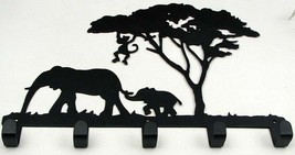 Cast Iron Elephant Scene Coat or Hat 5 Hook Wall Hanger - $24.74