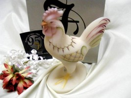 771 Vintage Fenton Folk Art Standing Ivory Satin Rooster - $175.00
