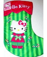 Hello Kitty Christmas Stocking with Candy Canes Red Green NEW 15 Inches - $14.00