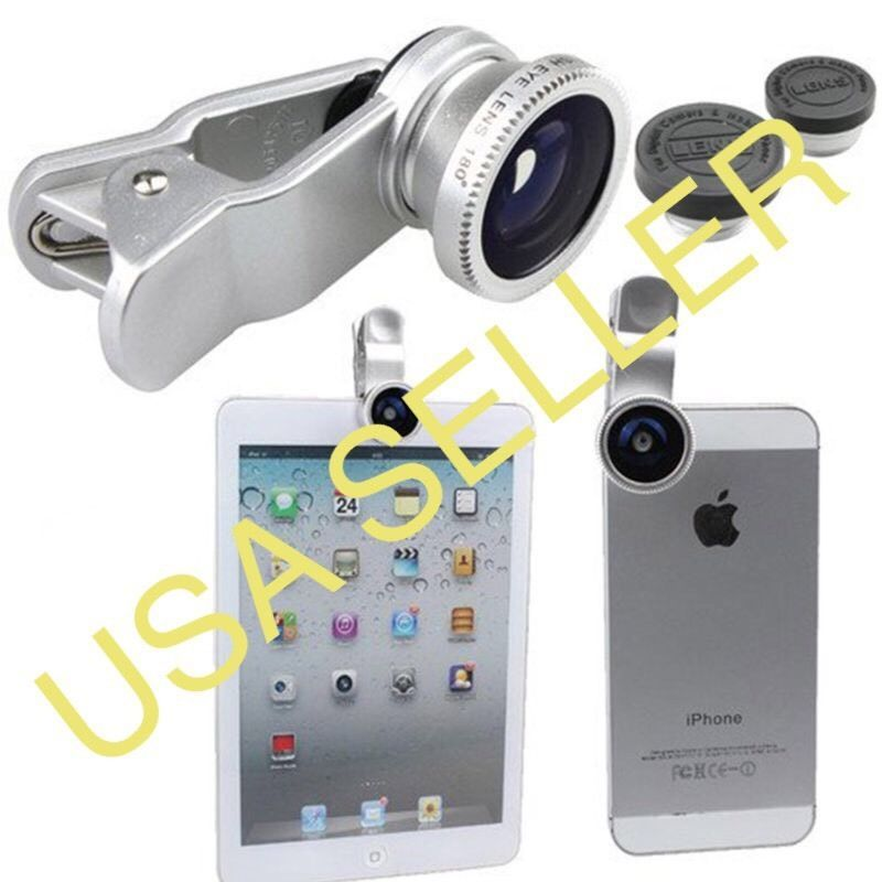 Detachable 3 in1 Clip-on Camera Fisheye+ Wide Angle + Macro Lens A2