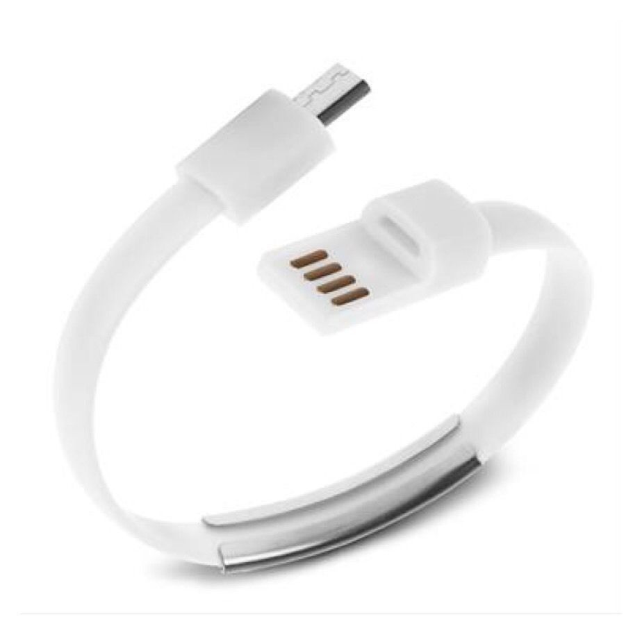 Micro USB To USB Cable Bracelet Data Sync Cord For Samsung Android White AB3