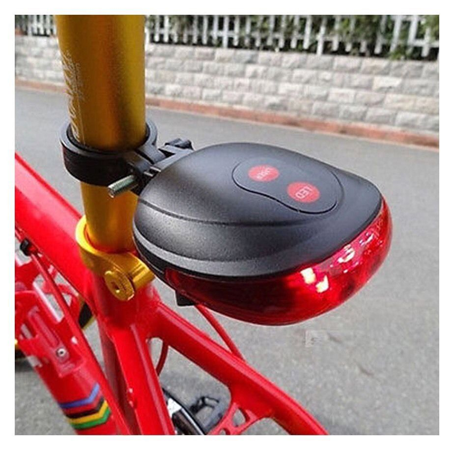 Bicycle Cycling Bike Rear Tail Safety Warning 5 LED+ 2 Laser Light AC7