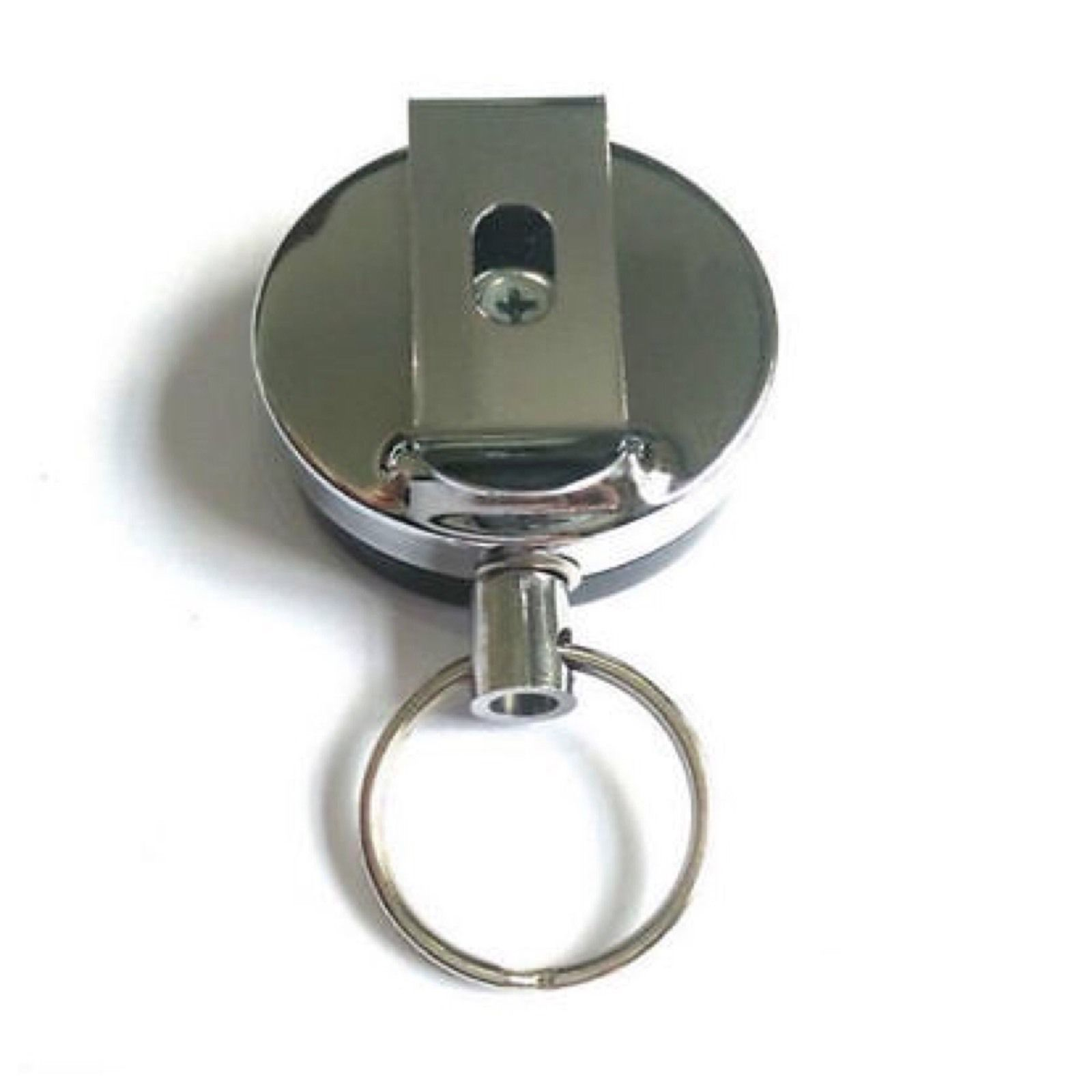 Key Chain Metal Card Badge Holder Steel Recoil Ring Belt Clip Pull Key A15