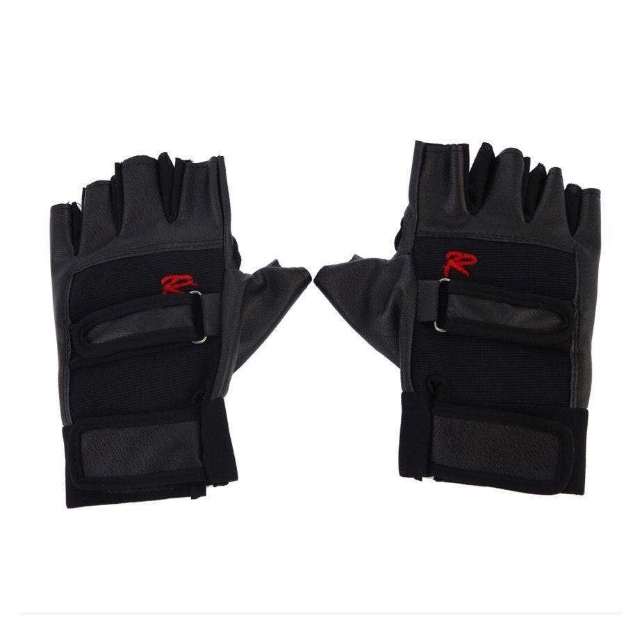 Leather Gloves Gym Driving Motorcycle Biker Fingerless Sport Gloves AB10