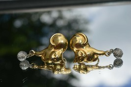 Vintage GOLD TONE CATS'' with Silver Dangle ball Clip on earrings  1.5''... - $10.36