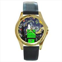 CHRISTMAS SNOOPY STARRY NIGHT VAN GOGH GOLD-TONE WATCH - 2 COLORS TO CHO... - $25.99