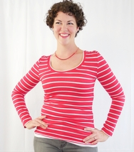 20% Off! Red and White Striped Rayon Shirt, Striped Long Sleeve Tee, Rayon Top