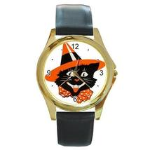 HALLOWEEN BLACK CAT IN WITCH HAT GOLD TONE WATCH, 6 OTHER STYLES - $25.99