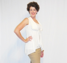 Off White Tunic Top with Lace Detailing, Tunic Top with Lace Detailed Vest Layer