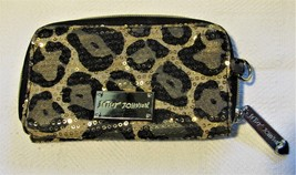 Betsey Johnson Animal Print Zip Up Wallet Gold Sequins