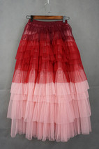 Tiered Long Tulle Skirt Red Pink High Waisted Layered Tulle Skirt Party Outfit image 3