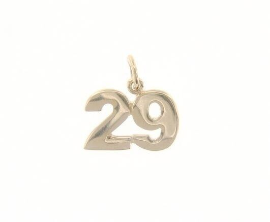 18K YELLOW GOLD NUMBER 29 TWENTY NINE PENDANT CHARM 0.7 INCHES 17 MM MADE ITALY