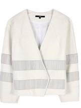 Tibi Fringe Stripe Ivory Leather Jacket Sz S Co... - $326.00