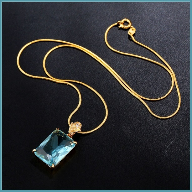 Aqua Blue Rectangle Emerald Cut Gem Stone Pendant 18K Gold Plated Chain Necklace