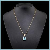 Aqua Blue Rectangle Emerald Cut Gem Stone Pendant 18K Gold Plated Chain Necklace image 2